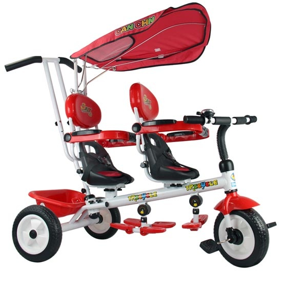 Toys For Twins : Multifunctional double seats ride on twin tricycle and